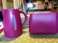 Hot pink kettle and toaster set