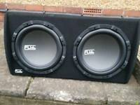 "Fli twin 12"" subs with built in amp 2000watts"