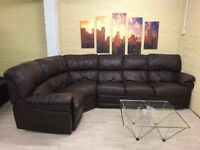 Stunning Brown Leather Corner Sofa