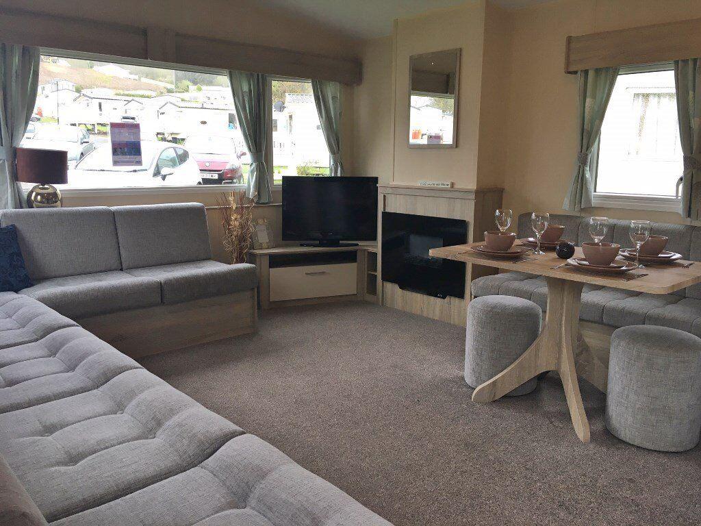 Stunning static caravan bed modern interior on site
