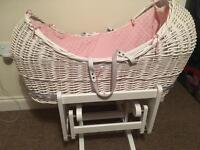 White & pink wicker Moses basket and stand