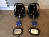 2 x Maxi Cosi Cabriofix Group 0+ car seat with rain cover & mirror