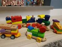 Children's wooden pull along train set.