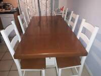 stunning solid oak farmhouse/ refectory dining table and 6 shaker style chairs