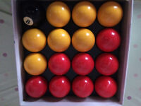 Aramith Pool balls (Yellow & Red) - only used once (near new)