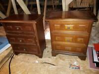 2 mahogany bedside drawer units