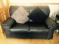 NEW BLACK LEATHER 3+2 SOFAS CAN DELIVER FREE