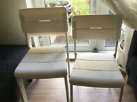 4 x White outside/kitchen stackable chairs, IKEA Vaddo