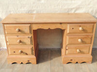 Heavy duty pine 6 drawer desk Welsh (Delivery)