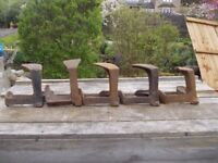 VINTAGE COBBLERS ANVIL LASTS GOOD DOOR STOPS/BOOKENDS. CAN BE PAINTED. PICK UP MATLOCK OR NOTTINGHAM