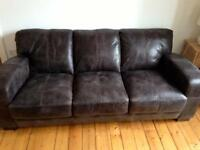 DFS Brown Leather Sofa - Practically New
