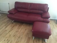 3 Seater leather sofa and storage footstool in Scarlett.
