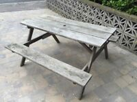 Solid wood Picnic Bench with built in benches . One piece .