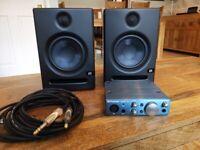 Presonus Eris E5 Active Monitor Speakers with Presonus Audio Box iOne