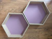 Nordic Style Wood Honeycomb Hexagon Floating Shelves - set of 2