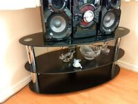 Modern Black Glass & Chrome Oval TV Stand