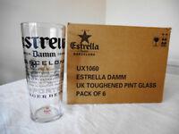 Estrella Damm one pint glasses USED