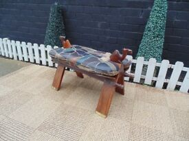 STUNNING SOLID OAK STOOL BEAUTIFUL DESIGN AND WITH LEATHER SEAT VERY SOLID