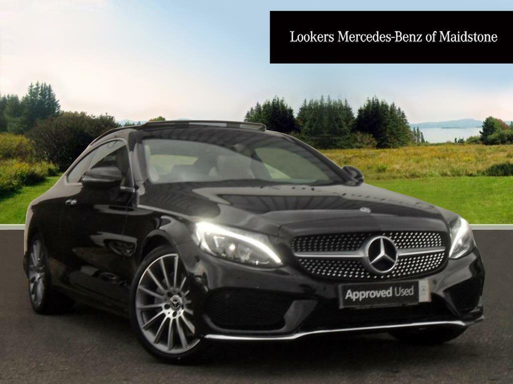 Mercedes benz c class diesel coupe amg line black 2017 for Black mercedes benz c class