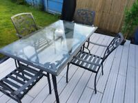 BARGAIN PRICE GARDEN TABLE AND SIX CHAIRS IN GREY