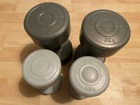 2x Pairs of Gym Work out Weights Dumbbells (6kg and 3kg)