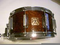 """Asama Percussion wood-ply snare drum - 14 x 6 1/2"""" - Burl veneer - Tama King Beat homage"""