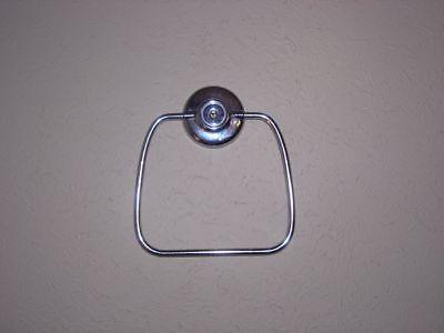 Vintage Polished Chrome Silver Metal Hand Towel Stirrup Type Ring EUC