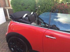 Red Mini Cooper convertible