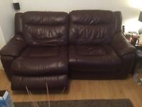 3 + 2 brown leather recliners