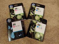 HP 88XL ink cartridges X 4, 2 X Magenta, & 2 Cyan