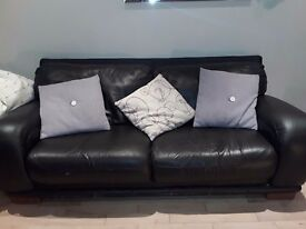 3 seater 2 seater and footstool leather settees