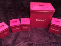 5 piece Kitchen Storage set in pink