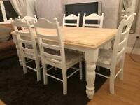 Fabulous 6ft Shabby Chic Chunky Farmhouse Oak Table and 6 Chairs With Padded Seats