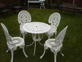 CAST ALLUMINIUM WHITE TABLE AND FOUR CHAIRS