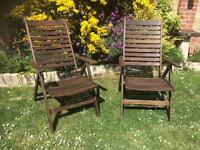 Lovely pair of wooden garden chairs