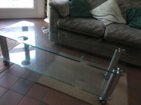 Alphonson tv stand silver 110 x40x37 10mm glass