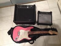 Electric Guitar and Amps PINK