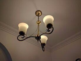 Antique brass 3 arm chandelier