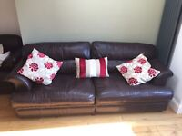2 x large 4-seater brown leather sofas