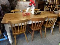 Stunning Shabby Chic Rustic 6' x 3' Pine Farmhouse Kitchen Dining Table & 6 Chairs UK Delivery