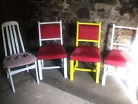 Dining chairs, upcycled, in various styles