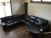 Corner Leather Sofa with Cuddle Chair & Footstool. DFS