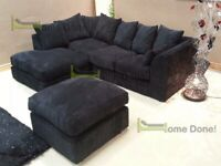 CRUSH VELVET CORNER OR 3+2 SEATER SOFA SET AVAILABLE IN STOCK WITH FREE DELIVERY AND FOOTSTOOL