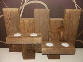 Reclaimed timber wall tealight holder