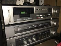 Retro tape, radio & amp pioneer system with boxes