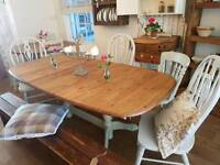 Pine extending table chairs and bench