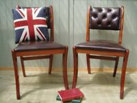 Stunning Pair of Brown Leather Chesterfield Chairs.