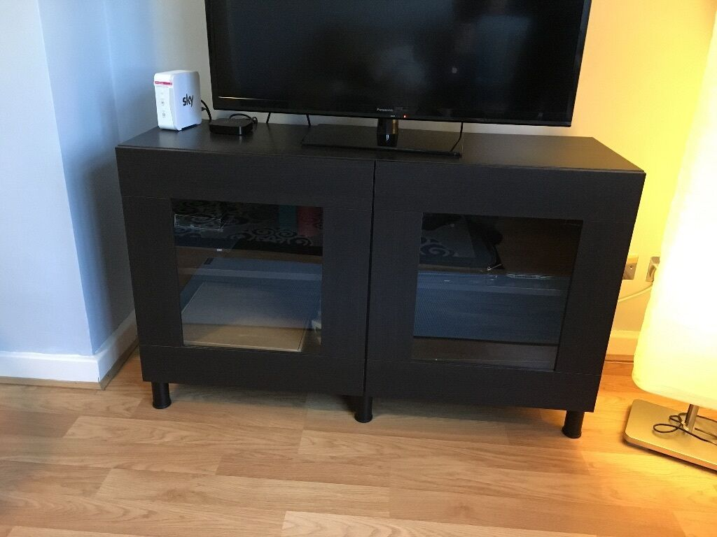 ikea besta tv stand with glass doors table entertainment. Black Bedroom Furniture Sets. Home Design Ideas