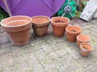 6x terracotta plant pots, all sizes