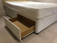 High quality double divan bed base with 4 storage drawers plus mattress, headboard & mattress topper